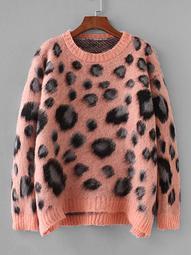 Plus Drop Shoulder leopard Print Sweater