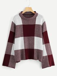 Plus Drop Shoulder Tartan Sweater