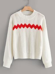 Plus Chevron Open Knit Sweater