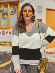 Plus Color Block Frayed Trim Sweater