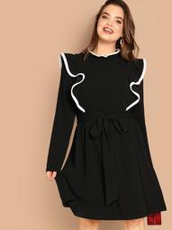Plus Mock-neck Ruffle Detail Dress