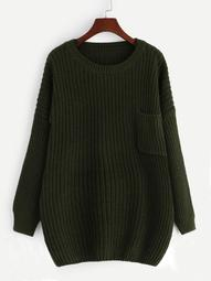 Plus Pocket Patched Solid Cocoon Sweater