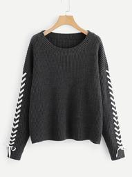 Plus Drop Shoulder Lace Up Sleeve Sweater