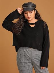 Plus Keyhole Neckline Ripped Detail Sweater