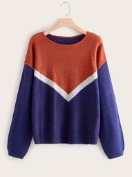 Plus Chevron Long Sleeve Mohair Sweater