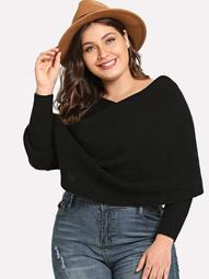 Plus Surplice Neck Solid Cape Sweater