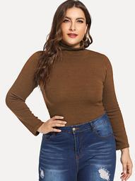 Plus Turtleneck Slim Fitted Sweater