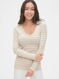 Modern Stripe Long Sleeve V-Neck T-Shirt