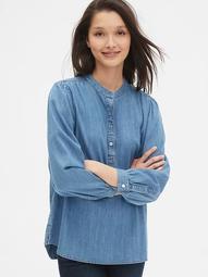 Shirred Denim Popover Shirt