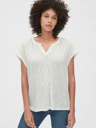 Mix-Fabric Notch-Neck T-Shirt