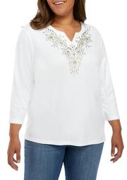 Plus Size Embroidered Yoke Knit Top