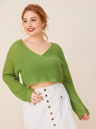 Plus Drop Shoulder Surplice Neck Crop Sweater