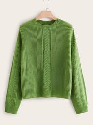 Plus Drop Shoulder Open Stitch Sweater