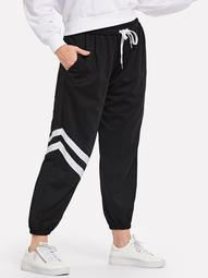 Plus Drawstring Striped Sweatpants