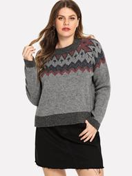 Plus Round Neck Geo Print Sweater