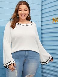 Plus Asymmetric Trim Raglan Sleeve Sweater