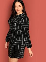Plus Slim Fitted Grid Dress