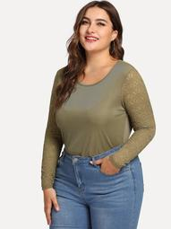 Plus Lace Sleeve Ribbed Knit Tee