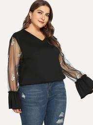 Plus Embroidered Mesh Flounce Sleeve Top