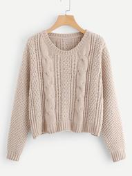 Plus Round Neck Solid Sweater