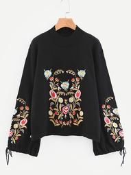 Plus Knot Side Floral Embroidered Jumper