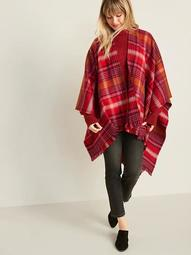 Plaid Flannel Open-Front Poncho for Women