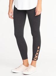 Lattice-Hem Ankle Leggings for Women