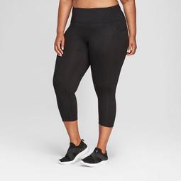 "Women's Plus Size Everyday Mid-Rise Capri Leggings 20"" - C9 Champion® Black 4X"