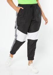 Plus Black Colorblock Checkered Side Striped Swishy Track Pants