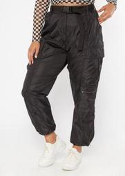 Plus Black Cargo Bungee Belted Joggers