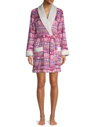 Holiday Time Women's and Women's Plus Plush Shawl Sleepwear Robe Fairisle