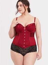 Red Lace & Mesh Strappy Underwire Bustier