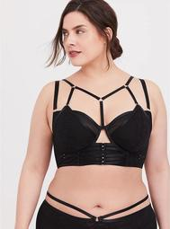 Black Lacey & Mesh Layered Harness Longline Underwire Bralette