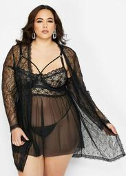 Lace Open Front Long Sleeve Robe