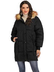 LELINTA Women Winter Plus Size Long Hoodie Coat Warm Hooded Jacket Zip Parka Overcoats Raincoat Active Outdoor Trench Coat