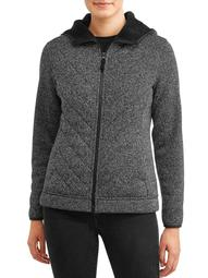 Time and Tru Women's Plus Sweater Fleece Jacket with Sherpa