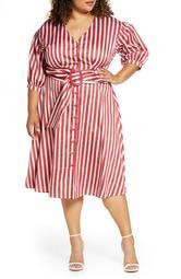 Stripe Puff Sleeve Polished Cotton Shirtdress