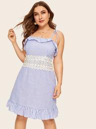Plus Striped Lace Panel Ruffle Trim Cami Dress