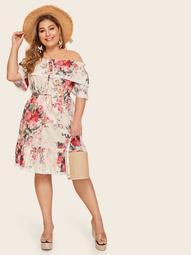 Plus Off Shoulder Floral Print Lettuce Frill Ruffle Hem Dress