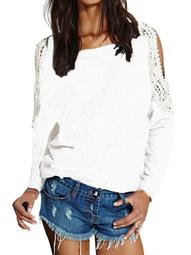 Womens Off-the-shoulder Lace Crochet Long Sleeve Blouses Sweatshirts