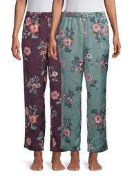 Secret Treasures Women's and Women's Plus 2-Pack Satin Sleep Pant