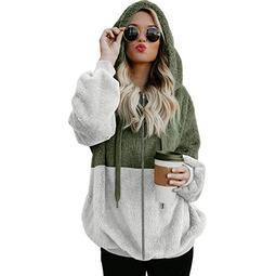 Tuscom Women Plus Size Hooded Sweatshirt Coat Winter Warm Zipper Pockets Coat Outwear