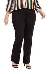 Plus Size Black Knit Stretchy Pull On Ponte Bootcut Pant