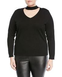 Choker-Neck Pullover Sweater