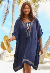 Lace-Up Caftan Cover Up