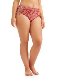 No Boundaries Juniors' Plus-Size Goddess Paisley Lace Up Swimsuit Bottom