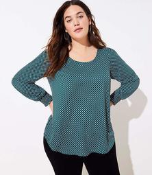 LOFT Plus Dotted Smocked Cuff Blouse