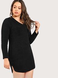 Plus Ribbed Long Sleeve Dress BLACK
