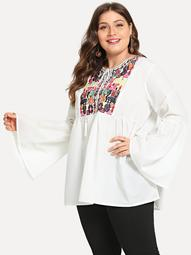 Plus Embroidery Detail Flounce Sleeve Blouse