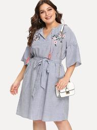 Plus Drop Shoulder Embroidery Striped Dress